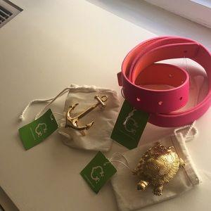 NWT CWonder pink / orange rev lthr belt w buckles